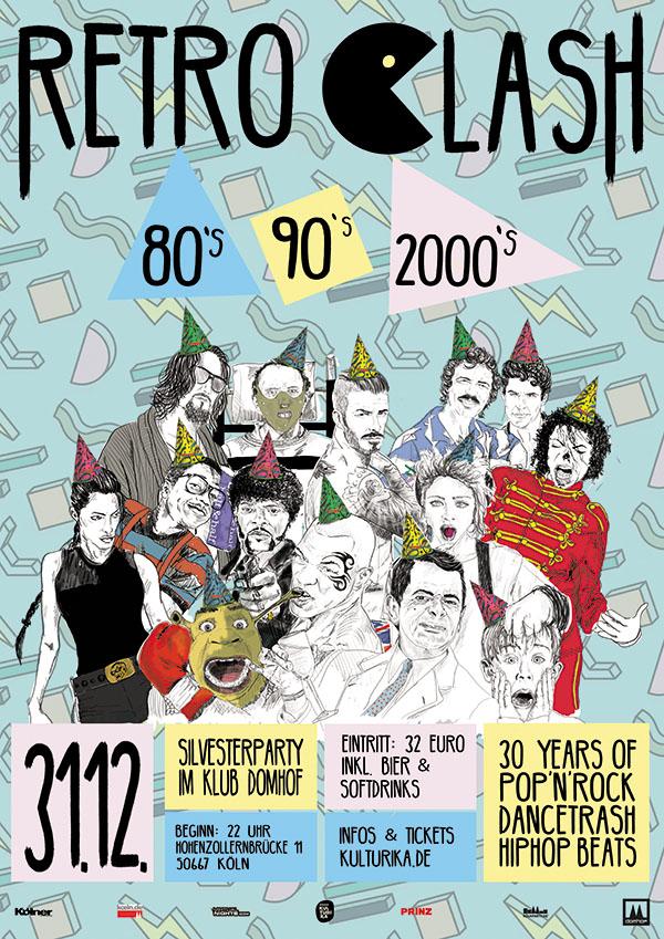 Retro Clash 80er 90er 2000er Silvesterparty im Klub Domhof Köln