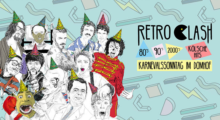 Retro Clash Party Karneval Köln 11.02.2018 Domhof Karnevalssonntag